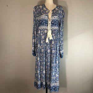 R. Vivomos Maxi Dress with blue Ditzy Floral Motif